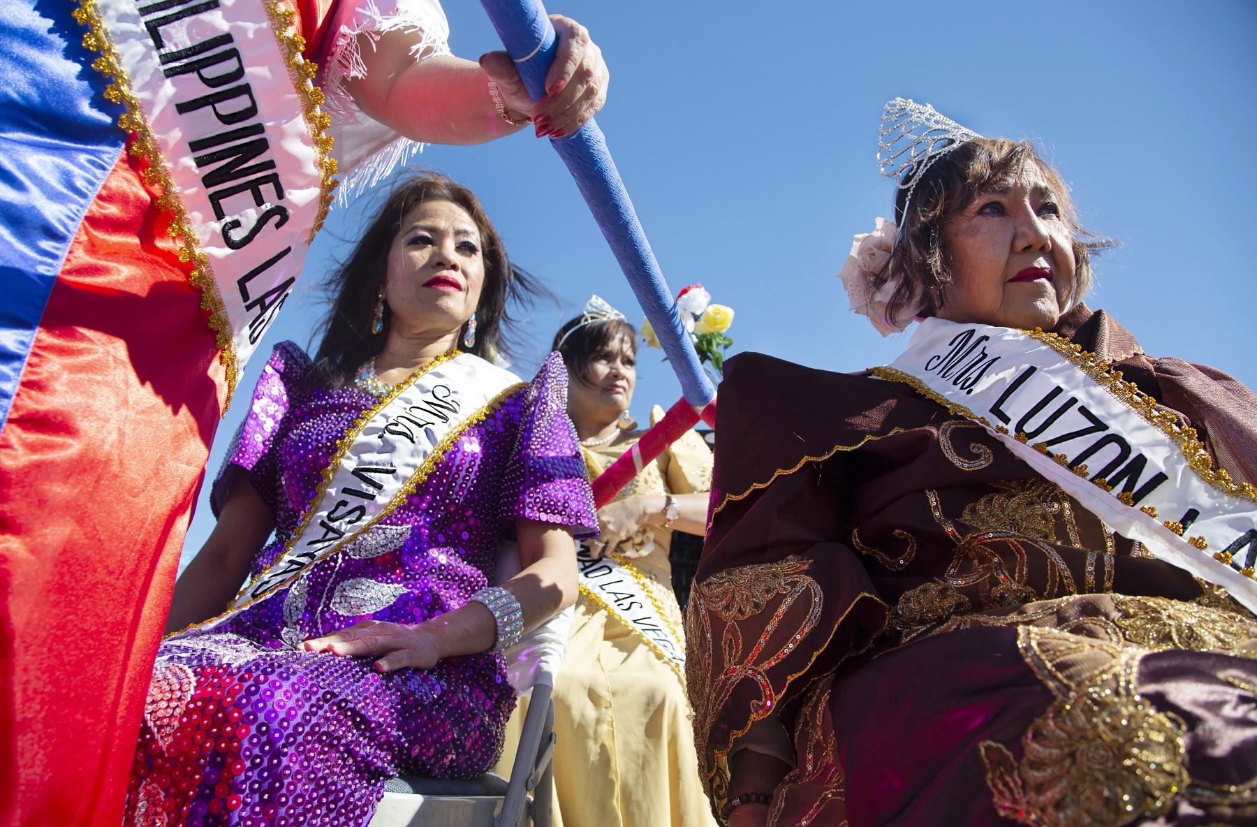 Hermia Landy, right, Vivian Locke, center, and Padua Raman, left, wait before the parade celebrating the 121st  Filipino Independence Day. Las Vegas. Sunday, June 9, 2019.
