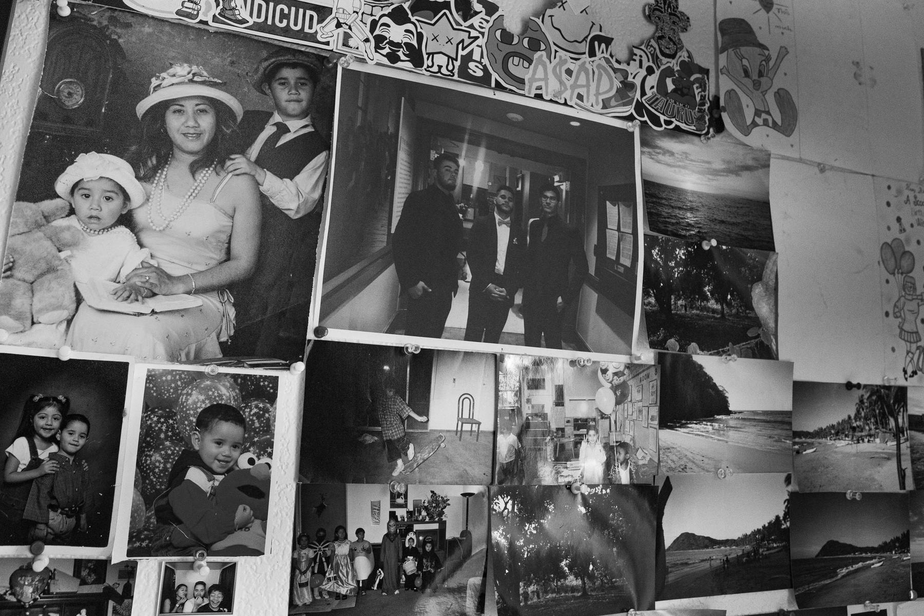 Photos are remnants of childhood memories for the Cruz family. Omar Cruz's new apartment wall is covered with photos of friends and family. On the far left hand corner is a family portrait of Adriana with Kimberly and Omar before her son Adrian was born.