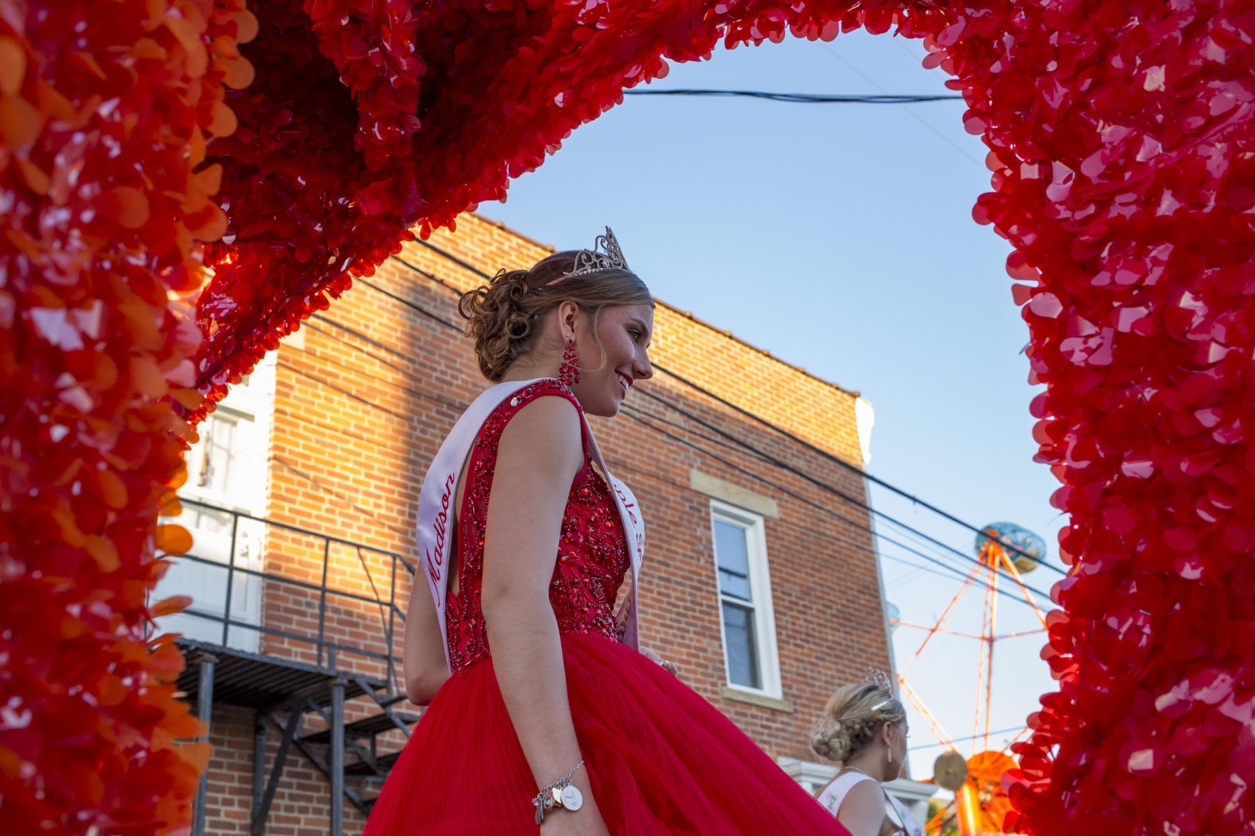 Jackson Apple Festival Queen Madison Strawser, 16, of Jackson, Ohio, sits on the Apple Queen float before the parade at the Jackson Apple Festival in Jackson, Ohio, on Wednesday, September 18, 2019.