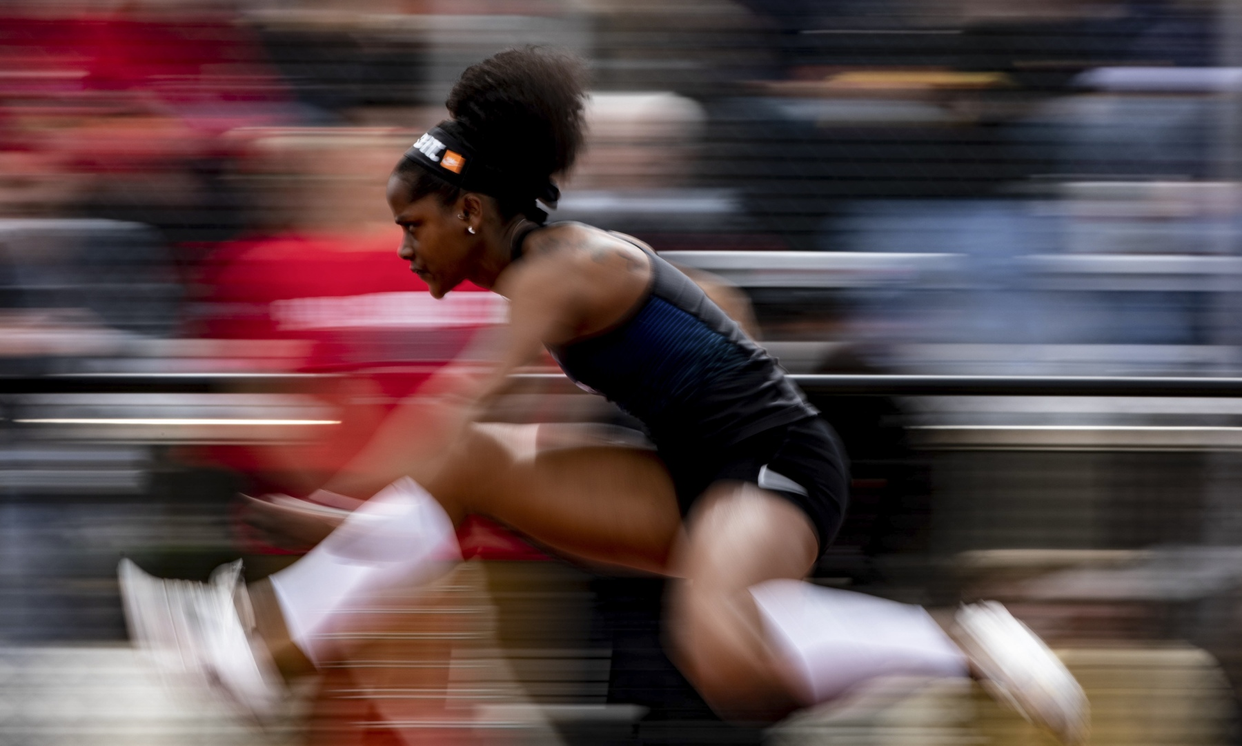 Tiara Wiggins runs in the Women's 100m Hurdles Saturday, April 13, 2019 in Muncie, Ind. Wiggins had a 14.19 time and took third place overall.