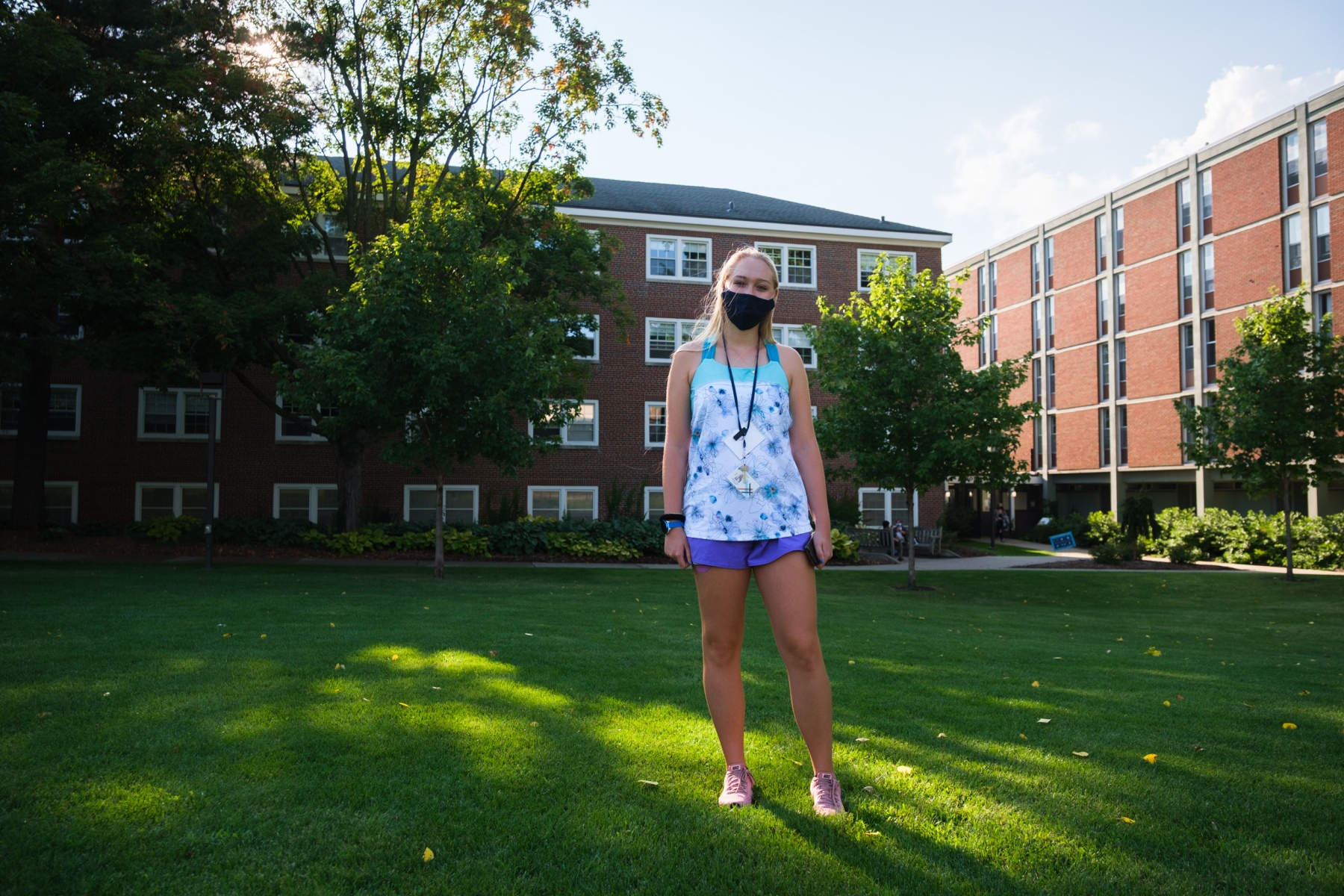 As summer ends, the Class of 2024 begins college amid a devastating pandemic and a national reckoning with systemic racism. Macalester first year Arista Siebrits poses for a portrait outside Kagin Commons on August 28, 2020.