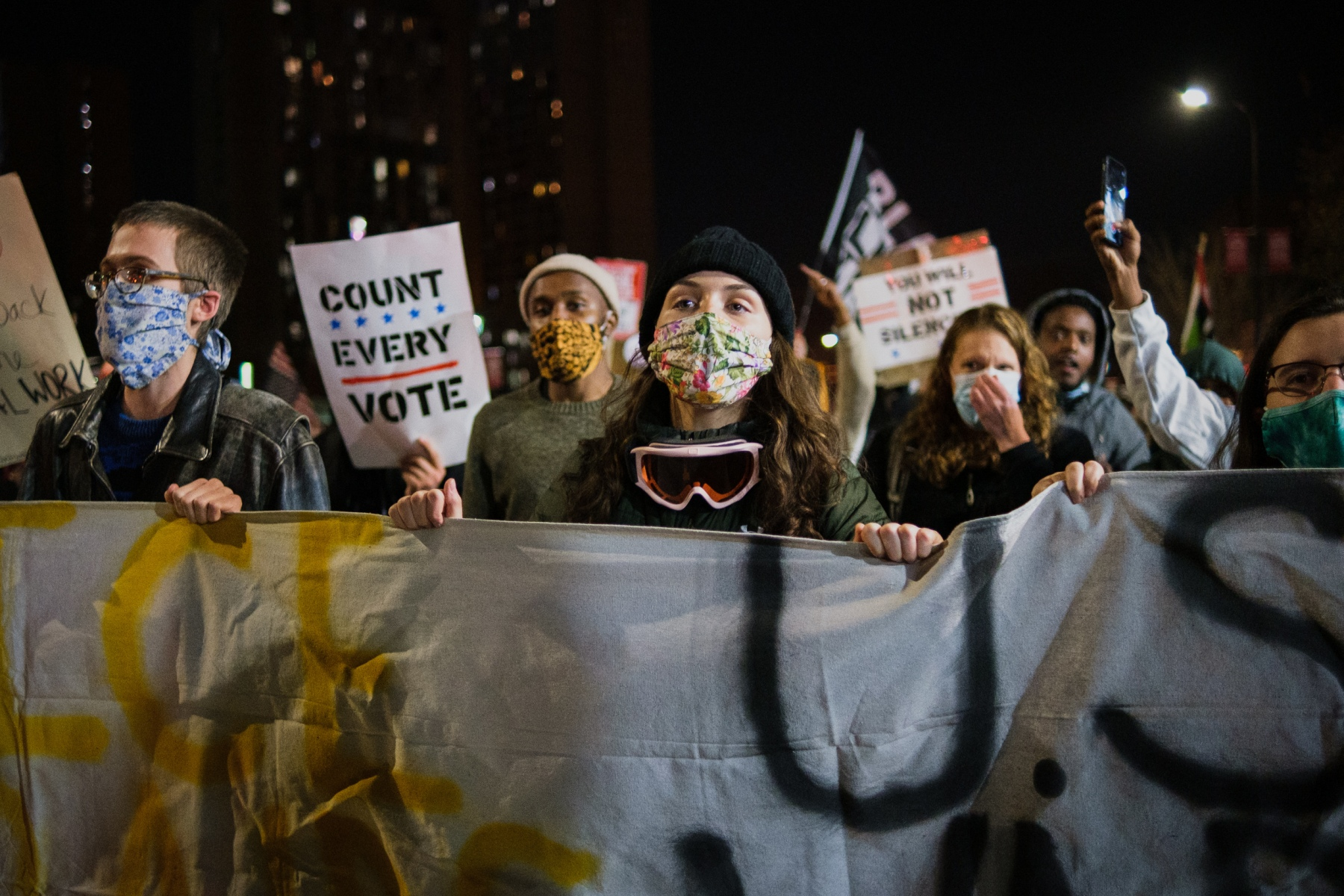 More than 600 protestors march through Minneapolis to demand all votes be counted in the 2020 presidential election on November 4, 2020, just one day after Election Day.
