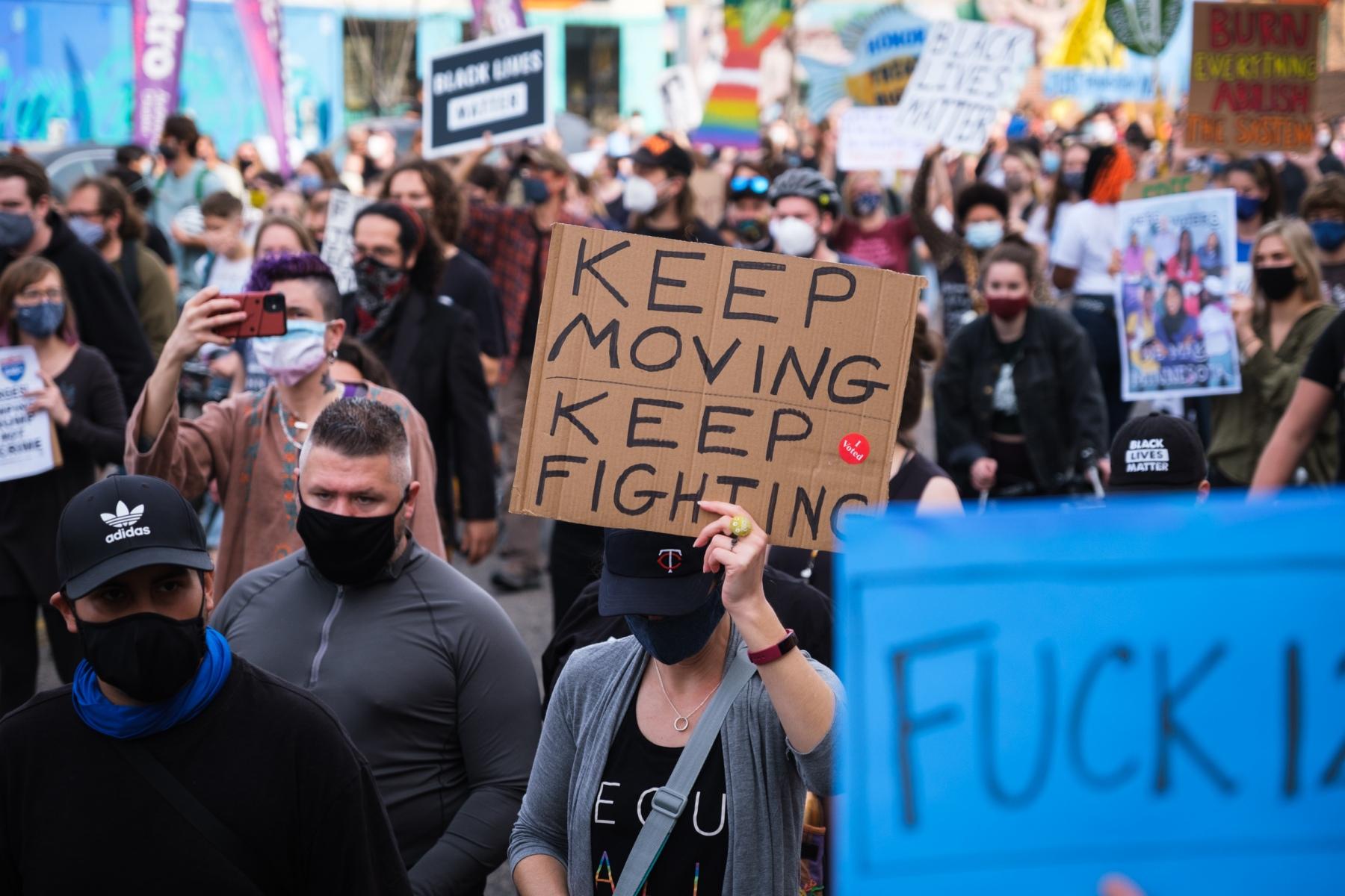 Thousands march through Minneapolis to celebrate the election of Joe Biden and Kamal Harris on November 7, 2020.
