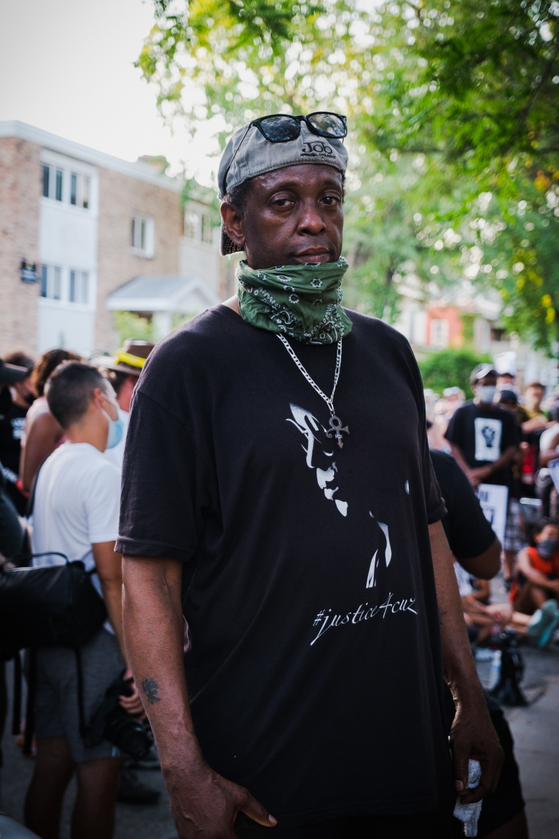 Terrance Jackson poses for a portrait at a march for people whose killings by police were not filmed on July 24, 2020. Jackson was tazed and beaten by Minneapolis transit police for leaning against a wall in a walking zone while waiting for the bus. Bystanders captured video of four officers forcing Jackson, a Minnesota native and an Army veteran, to the pavement and using their knees and feet to hold him down by the neck.